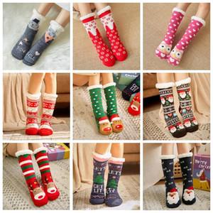 Knit Socks Natal dos desenhos animados Xmas Treehouse Womens Grosso Sherpa com forro de lã térmica Sock sono Tapete Meias Decorações de Natal OWC2648