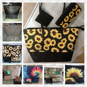 Женщины KS PU сумки кошелек кошелек 3шт / сценографов Блестки Блеск Totes плеча сумки Luxurys большого размера Tote хранения Сумки Sunflower D42705