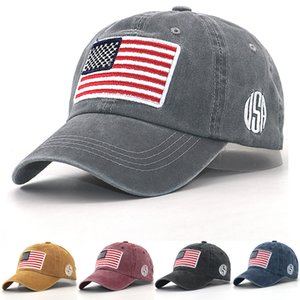 Cotton embroidered hat washes American flag; behind baseball cap, Dad's hat is bent, gentle and fashionable for men and women