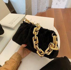 HBP Толстая цепь сумка леди благородный высококачественный меховой меховой меховой меховой скважин мягкие женские сумки модные облака