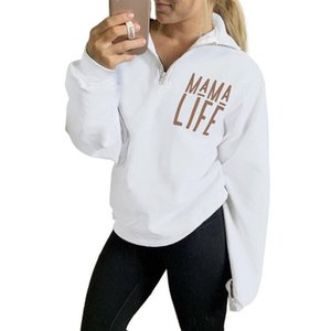 Ladies Hoodies Sweatshirts Fashion Women's Long Sleeve Autumn Letter Print Zipper Lapel Pullover Top Sra. Moletons Com Capuz