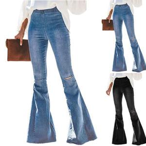 2020 Kadın Flare Pantolon Kadınlar Seksi Retro Denim Pantolon Lady Streetwear Pantolon İçin Vintage Yüksek Bel Skinny Jeans Ripped