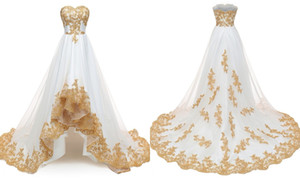 2021 New White and Gold Lace Embroidery Hi Low Wedding Dresses Bridal Gown Sweetheart Applique Lace Applique Organza Wedding Gowns Cheap
