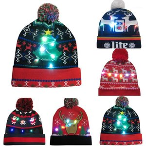 Merry Christmas women men adult caps 25 color LED Light-up Hat Knitted Ugly Sweater Holiday Christmas party Cap hat1