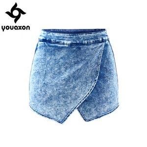1892 YouAxon Donne Fldas Y Pantaloncini a vita alta Vita Acido Denim Brevi pantaloni per le donne Jeans Skort Z1205