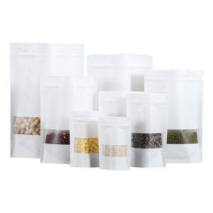 White Kraft Paper Mylar Doypack Bag Food Tea Snack Package Sacos De Armazenamento Stand Up Empacotamento FWD2659