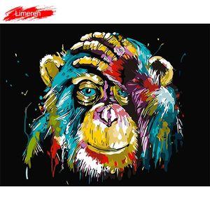 جدار الفن قماش النفط الطلاء بواسطة أرقام القرد الحيوانات رسمت باليد صور تلوين من أرقام ديكور المنزل لا الإطار LJ201130