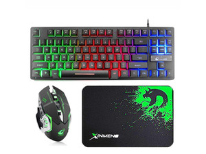 87 Keys Gaming Keyboard and Backlit Mouse Combo, USB Wired Rainbow Backlit Keyboard and Wireless Silent Mouse for Laptop PC Computer Game