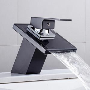 Hotbest Cascada Faucet de cuenca para baño Cubierta negra Montaje Cuadrado Vanity Fregadero Mezclador Grifo de una palanca de una sola palanca de vidrio sólido