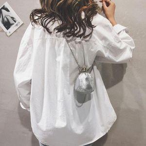 Mini Drawstring Sequined Metallic Bucket Bag Women Girls Kid Chain Shoulder Bag Lipstick Money Coin Key Crossbody Shoulder