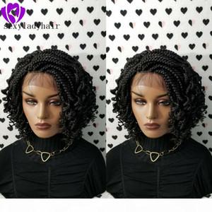 Perruques populaires courtes bouclés en dentelle tressée frontale Perruque Naturel Bob BoB Boîte Tresses Synthetic Wig Livraison gratuite