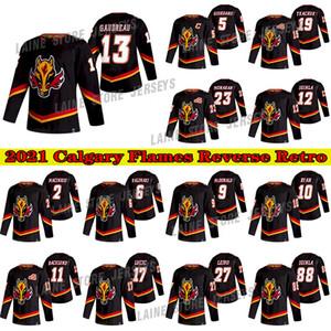 Calgary Flames Jersey 2021 Reverse Retro 13 Johnny Gaudreau Jersey19 Matthew Tkachuk 23 Sean Monahan 5 Mark Giordano Hoceykey Jerseys