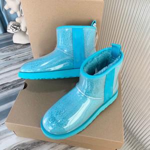 botas de luxo tornozelo botas cor botas designer de doces logotipo neve TPU bota impermeável estilista inicialização transparente mulheres botas de inverno
