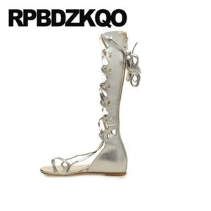long open toe sandals boots summer designer shoes women luxury 2020 big size 13 45 gladiator ladies roman tall knee high gold