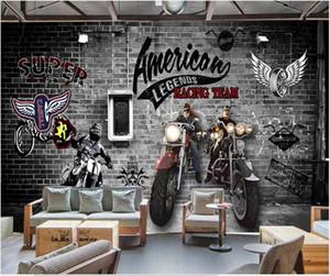 Custom photo 3d wallpaper Hand painted brick wall retro european motorcycle room 3d wall murals wallpaper for home decor