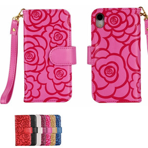 Fashion designer rose flower imprinted flip leather wallet phone case for iphone 11 12 pro x xr xs max 6 7 8 plus s9 s10 with hand strap