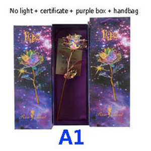 New Colorful Artificial LED Light Flower 24K Gold Foil Luminous Rose Unique Presents And Gift Box For Valentines Day Wedding Gifts HH9-2629