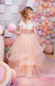 2021 Rosa Zwei Teile Spitze Ballkleid Blume Mädchen Kleider 3/4 Langarm Vintage Kind Pageant Kleider Schöne Blume Mädchen Brautkleider