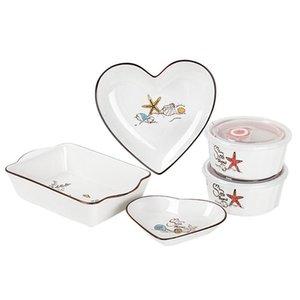 5 unids / set Vajilla de cerámica Corazón Mar Starfish Aislate Bowl Placa de hornear Placa de vajilla Set T200430