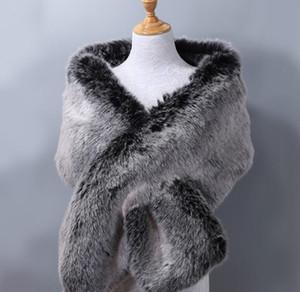 Luxury-Women's ladies business Plush fur fox fur bridal evening dress dinner party Noblewoman Padded big shawl cloak scarf
