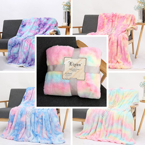Tie-dye Flannel Blankets Sherpa Blanket Kids Adults Square Quilt Plush Double Thickening Winter Couch Bedspreads Bedding Supplies OWE1621