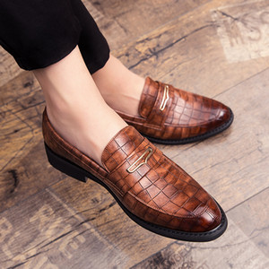 Fashion Pointed Toe Dress Shoes slip on Men Leopard Loafers Patent Leather Shoes for Men Formal party Mariage Wedding club Shoes 201015