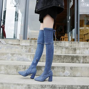 2019 New Autumn Sexy Over The Knee Long Boots Women Pointed Toe High Heels Denim Sock Boots Women Party Shoes1