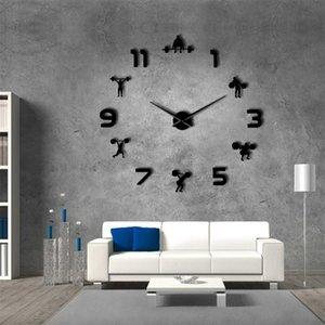 Weightlifting Sala de fitness decoração da parede DIY gigante mudo pulso de relógio de parede espelho powerlifting sem moldura grande ginásio relógio relógio de parede lj201211