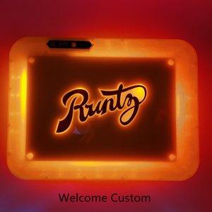 Runtz Şarj Edilebilir Rolling Tepsi Glow Tepsi 550mAh Dahili Pil LED Işık Tepsisi Özelleştirilmiş E-Sigaralar Ürünleri Aksesuarları