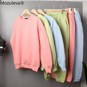 Mozuleva New Otoño Mujer Suéter 2 piezas Conjuntos de manga larga Sportwear Jersey Suéter y Juego de pantalón 2 PCS Outfits 6 Colores 201009