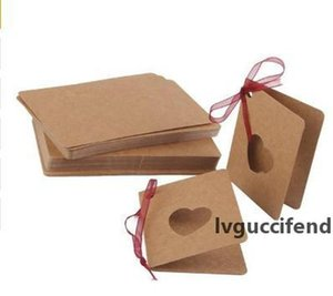 Gift Wrap Card Tag Kraft Paper Hang Tag With Red Rope Hollow Heart Shape Lable For Wedding Birthday Decoration 300pcs