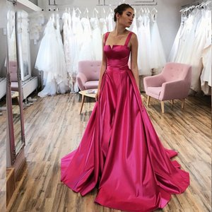 New Fashion Elegantes A Line Prom Dresses Spaghetti Sleeveless Zipper Back Simple Modest Formal Evening Gowns Sweep Train