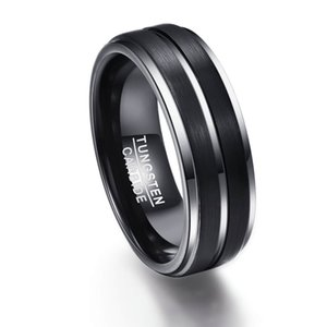 8MM wide Step and groove plating black frosted tungsten ring men's ring jewelry in stock