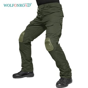 WOLFONROAD Men's Tactical Cargo Combat Pants With Protect Knee Pads Solider Military Pants Army Navy Hunting Pants Trousers 201211