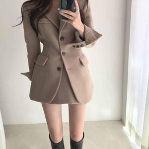 Korean Chic Winter Vintage Woolen Full Blazer Jacket + High Waist Bag Hip A-Line Skirts Women Skirt Suits Blazer Skirt Set Fall