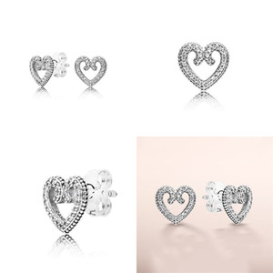 Women's Authentic 925 Silver Love Heart Stud Earrings for Pandora CZ Diamond Wedding Jewelry Earring with Original Set 51 M2
