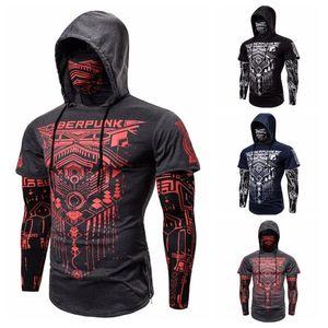New Men Sweatshirt Hood Print design Street wear Pure Color Motorcycle Face Pullover Long Sleeve Hooded 3 COLORS