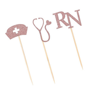24pcs Themed Cake Picks Creative Nursing School Cupcake Picks Party Dessert Topper Cake Decor (Golden, 3 Styles, 4pcs Each