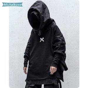 Japonês Hip Streetwear Man Hoodies Hop Embroideried pulôver Patchwork Falso Two DarkWear Tops Techwear Hoodies michalkova 201019