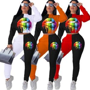 Femmes Tracksuit Plus Taille Lèvres imprimées Sweat à manches longues Pullgoover Leggings Collants Pantalons Two Piece Ensemble de tenue de sport E101503