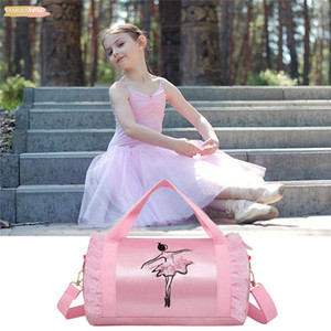 Zipper Fashion Shoulder Bag Girls Latin Dance Bag Pink Women Ballet Dance Tote Bag Embroidery Gym