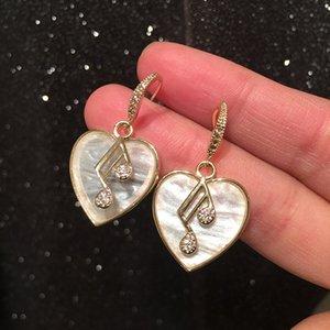 Diamante Shell Adorável coração Notas Musical Brincos Nova Moda Charm Clip On Brincos para Mulher Meninas Estudantes S925 Silver Post