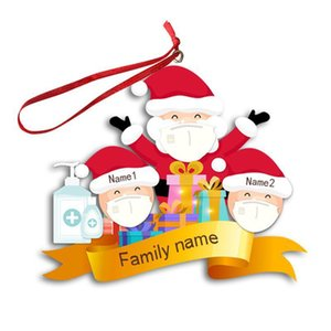 Family Face Mask of 3 4 5 6 Christmas Ornament INS Personalized Pandemic Xmas Tree Snowman Hanging Pendents Party Supplies Favor GGE1808