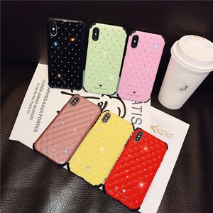 Fashion Colorful Diamond-studded phone case TPU all-inclusive solid color four-corner protection anti-fall case protection anti-fall case
