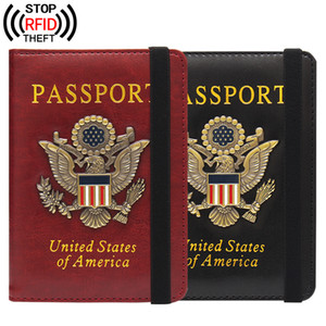 RFID Travel Cute USA Passport Cover Women Red USA Passport Holder American 2 Colors Covers for Passports Girls Case Passport Wallet