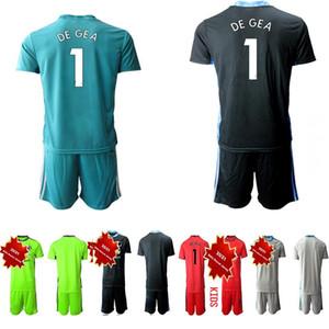 2020 2021 Kids Manchester Goalkeeper Soccer Jersey Childrens MATA #1 DE GEA Pogba Football Kit Jersey Home Away KIT Sets Uniform