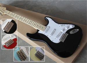 Spedizione gratuita St Chitarra, Bianco Blu Nero Guitar Red Guitar, Pickup di SSS, BASSWood Body, Neck Neck, Berretto in acero, PickGuard Bianco, Bianco Stwich