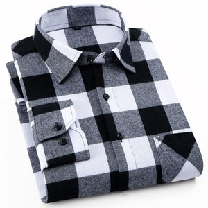 Blouse Flannel Plaid Shirt Men Cotton 2021 Spring Autumn Male Casual Long Sleeve Shirt Plus size High Quality Warm Man Clothes