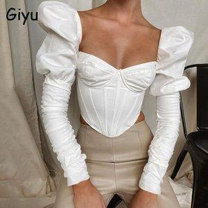 Giyu Sexy Femmes Blouses 2021 Automne Ruchée Hoffe Sleeve Shirt élégant Vintage Vêtements Chemise Femme Femme Crop Top Top Blusas