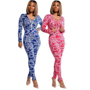 Women pantsuit outfits 2 piece set long sleeve T-shirt + long pants casual sportsuits weatshirts pantsuit tights sport suit klw6074